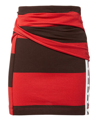 Striped Panel Mini Skirt, RED, hi-res