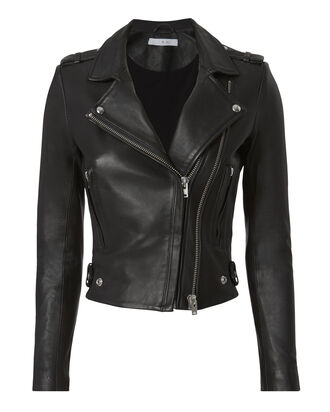 Dylan Black Leather Cropped Moto Jacket, BLACK, hi-res