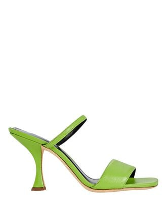 Nayla Leather Slide Sandals, GREEN, hi-res