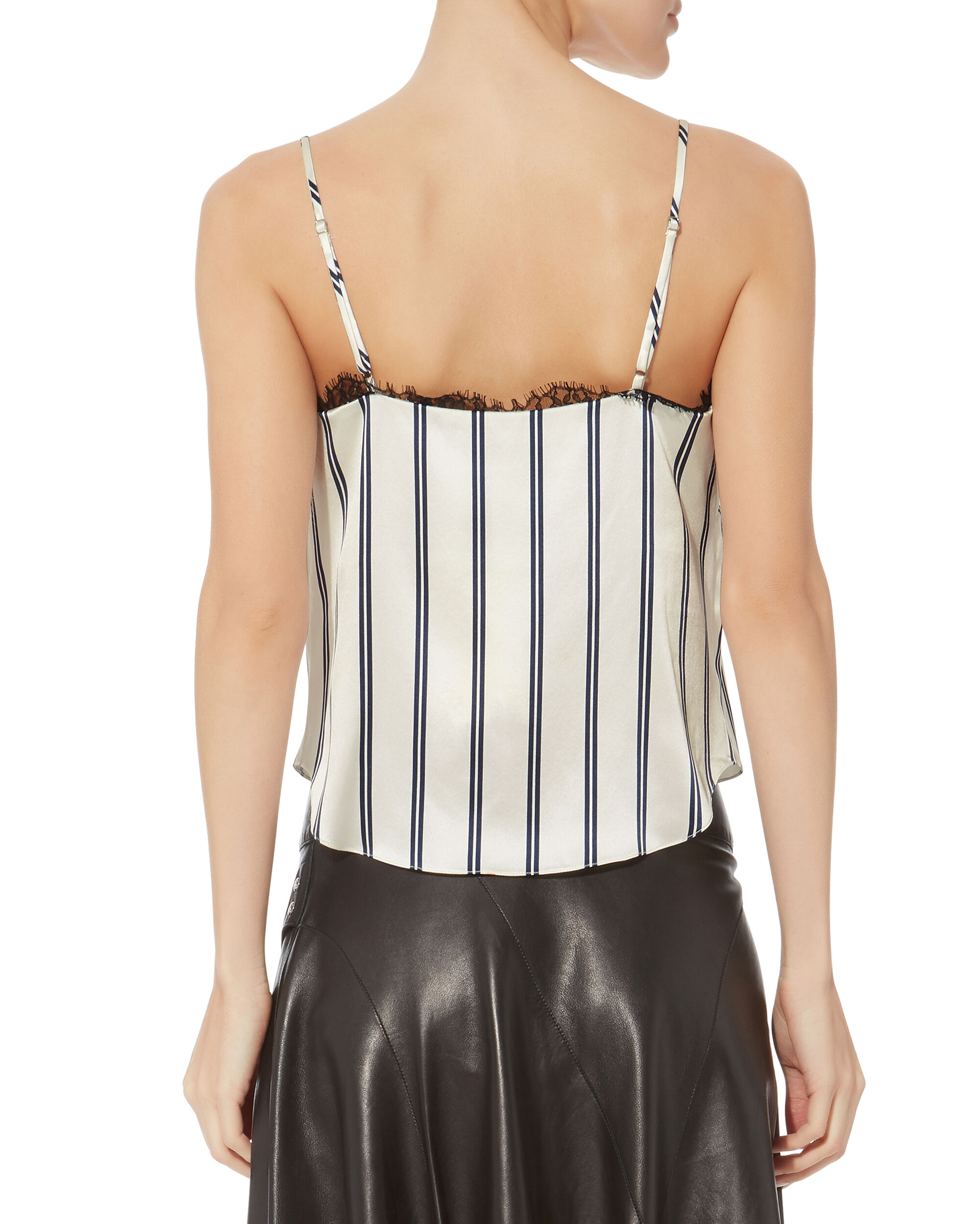 Lace Trim Striped Cami, BLACK/WHITE, hi-res