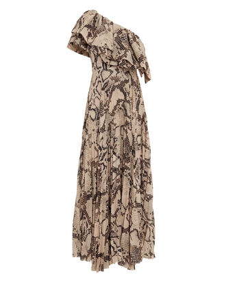 Rosa One Shoulder Ruffle Dress, BEIGE/SNAKESKIN, hi-res