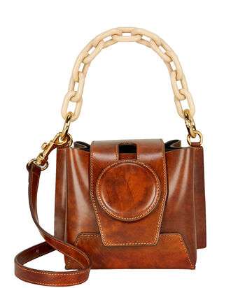 Daria Leather Box Bag, COGNAC, hi-res