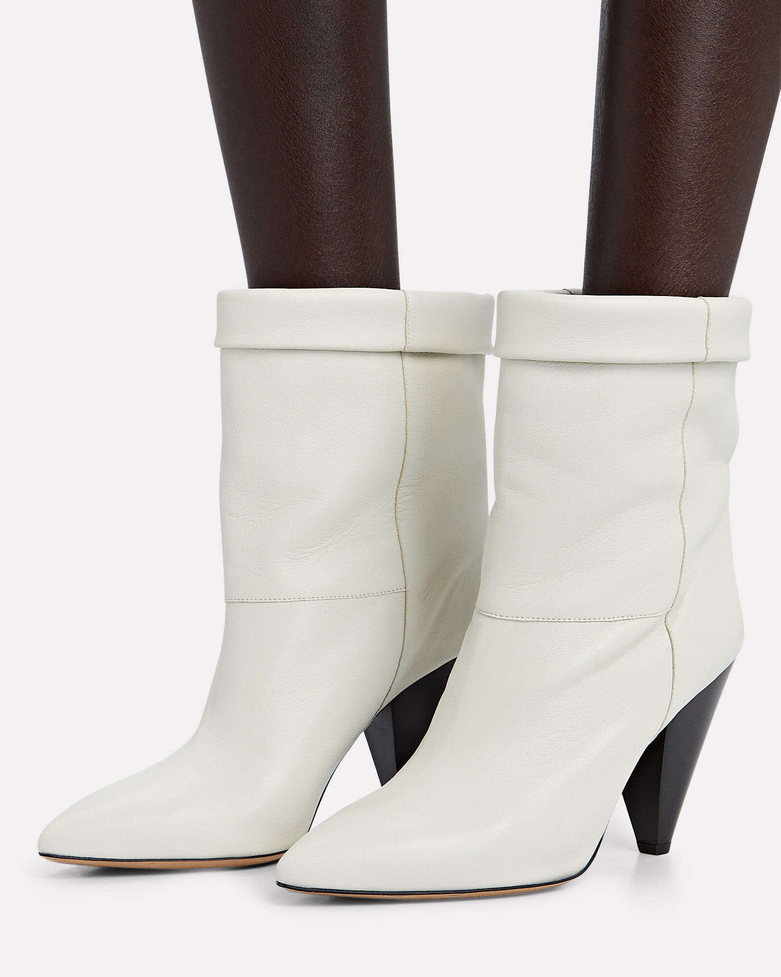 Luido Leather Ankle Boots, IVORY, hi-res