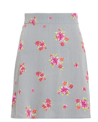 Floral Striped Mini Skirt, MULTI, hi-res