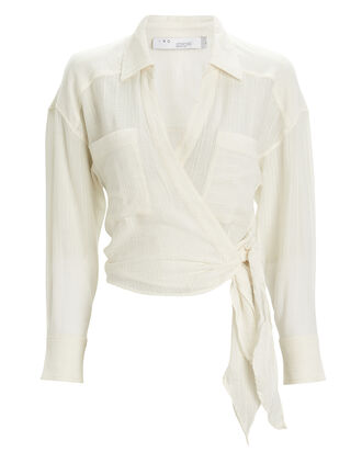 Emain Wrap Blouse, WHITE, hi-res