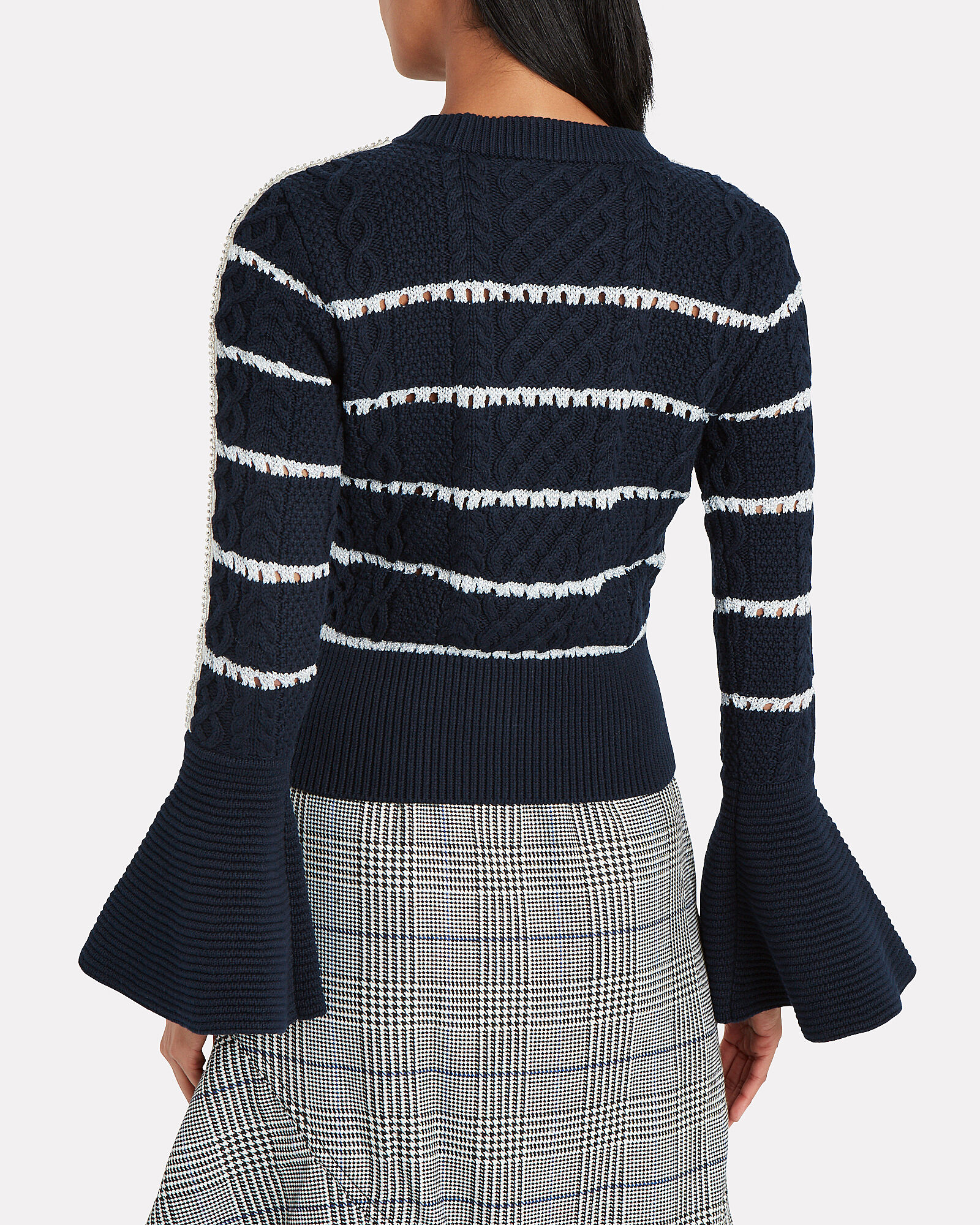 Striped Cable Knit Sweater, NAVY, hi-res