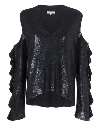 Waleast Cold Shoulder Sequin Top, BLACK, hi-res