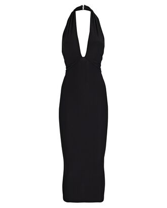 Dahlia Halter Midi Dress, BLACK, hi-res