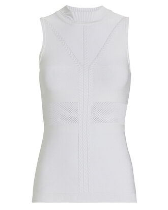 Cable Knit-Trimmed Mock Neck Top, WHITE, hi-res