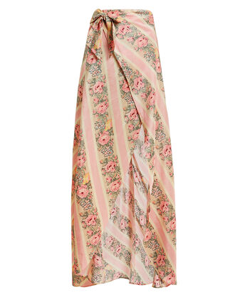 Jolene Silk Wrap Skirt, ROSE/BEIGE/STRIPE, hi-res