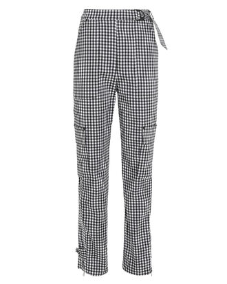 Seersucker Gingham Cargo Pants, BLACK/WHITE GINGHAM, hi-res