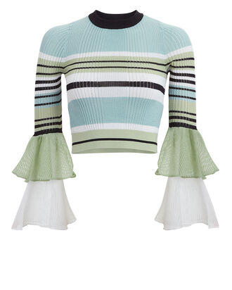 Striped Rib Knit Crop Top, MINT/BLACK STRIPE, hi-res