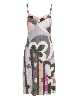 Abstract-Printed Sequin Dress, GREY/PINK/WHITE, hi-res