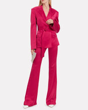 Satin Flared Trousers, PINK-DRK, hi-res