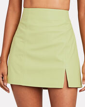 The Hackney Leather Mini Skirt, GREEN-LT, hi-res