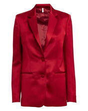 Heavy Satin Tailored Blazer, RED, hi-res