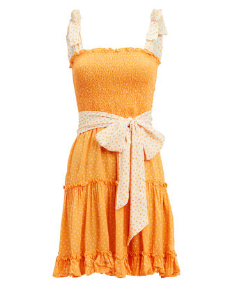 Raegan Mini Dress, MARIGOLD/WHITE POLKA DOT, hi-res