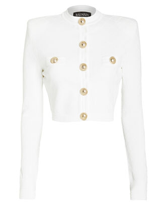 Diamond Knit Cropped Jacket, WHITE, hi-res