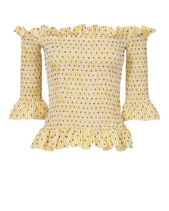 Calida Smocked Top, YELLOW, hi-res