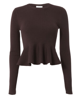 Alexis Peplum Ribbed Top, PURPLE-DRK, hi-res
