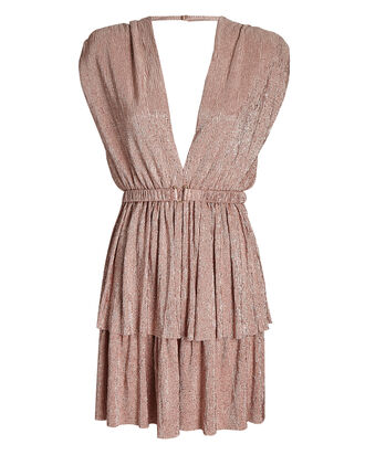 Sapphire Metallic Tiered Mini Dress, BLUSH, hi-res