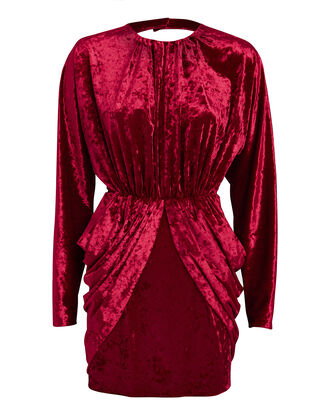 Crushed Velvet Mini Dress, RED, hi-res