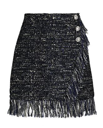 Danny Fringed Tweed Mini Skirt, MULTI, hi-res