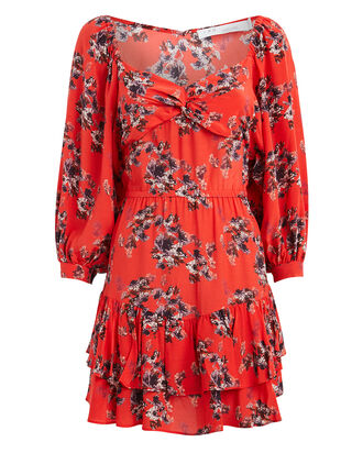 Riane Floral Mini Dress, RED FLORAL, hi-res