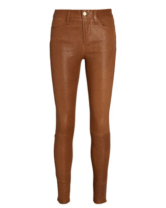 Le High Skinny Leather Pants, BROWN, hi-res