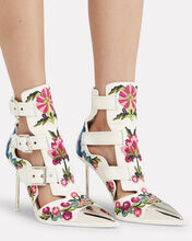 Silver Heel Embroidered Booties, MULTI, hi-res