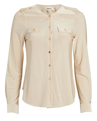 Lucca Button-Down Blouse, BEIGE, hi-res
