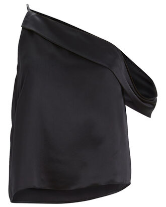 Silk Charmeuse One-Shoulder Top, NAVY, hi-res