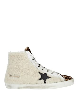 Francy Shearling High-Top Sneakers, BEIGE, hi-res