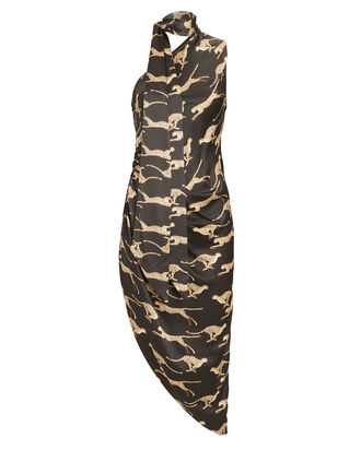 Zoey Cheetah Asymmetrical Dress, CHARCOAL/BEIGE, hi-res