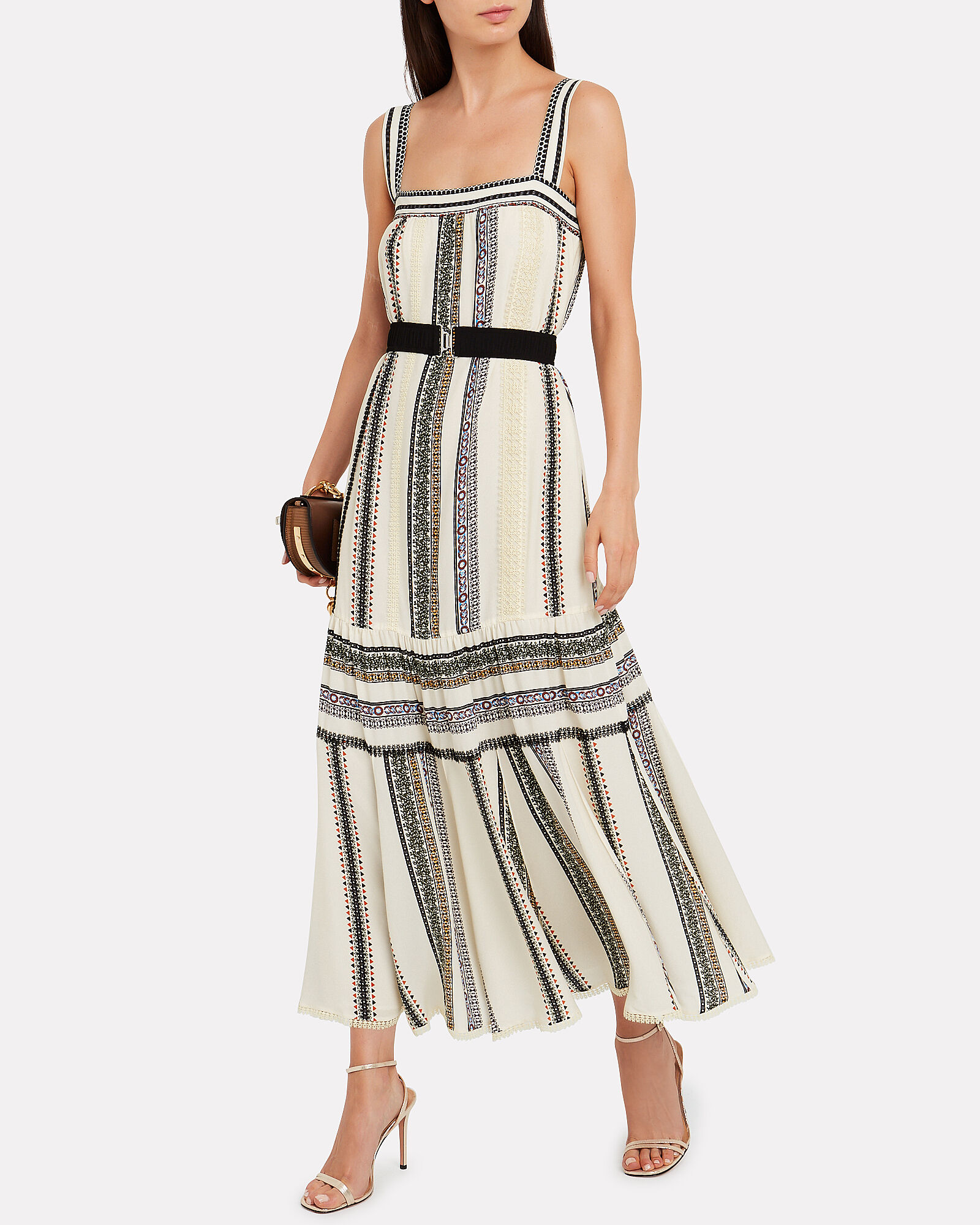 Lace Inset Striped Tank Dress, IVORY/STRIPE, hi-res