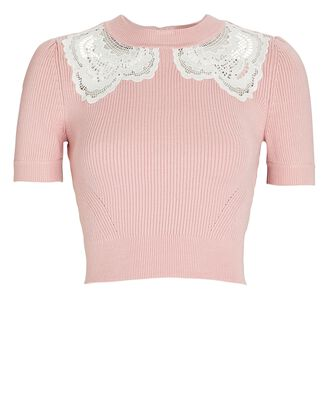 Guipure Lace-Trimmed Rib Knit Top, PINK, hi-res
