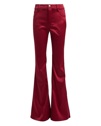 Valentina Flared Satin Pants, RUBY, hi-res