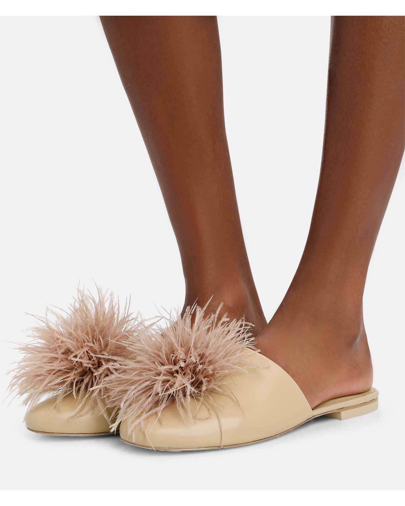 Ray Feather-Trimmed Flat Mules, BLUSH, hi-res