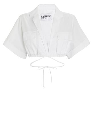 Cropped Safari Poplin Shirt, WHITE, hi-res