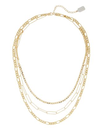 Triple Mixed Layer Chain Necklace, GOLD, hi-res