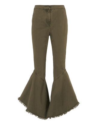 Wysteria Cropped Frill Pants, OLIVE/ARMY, hi-res