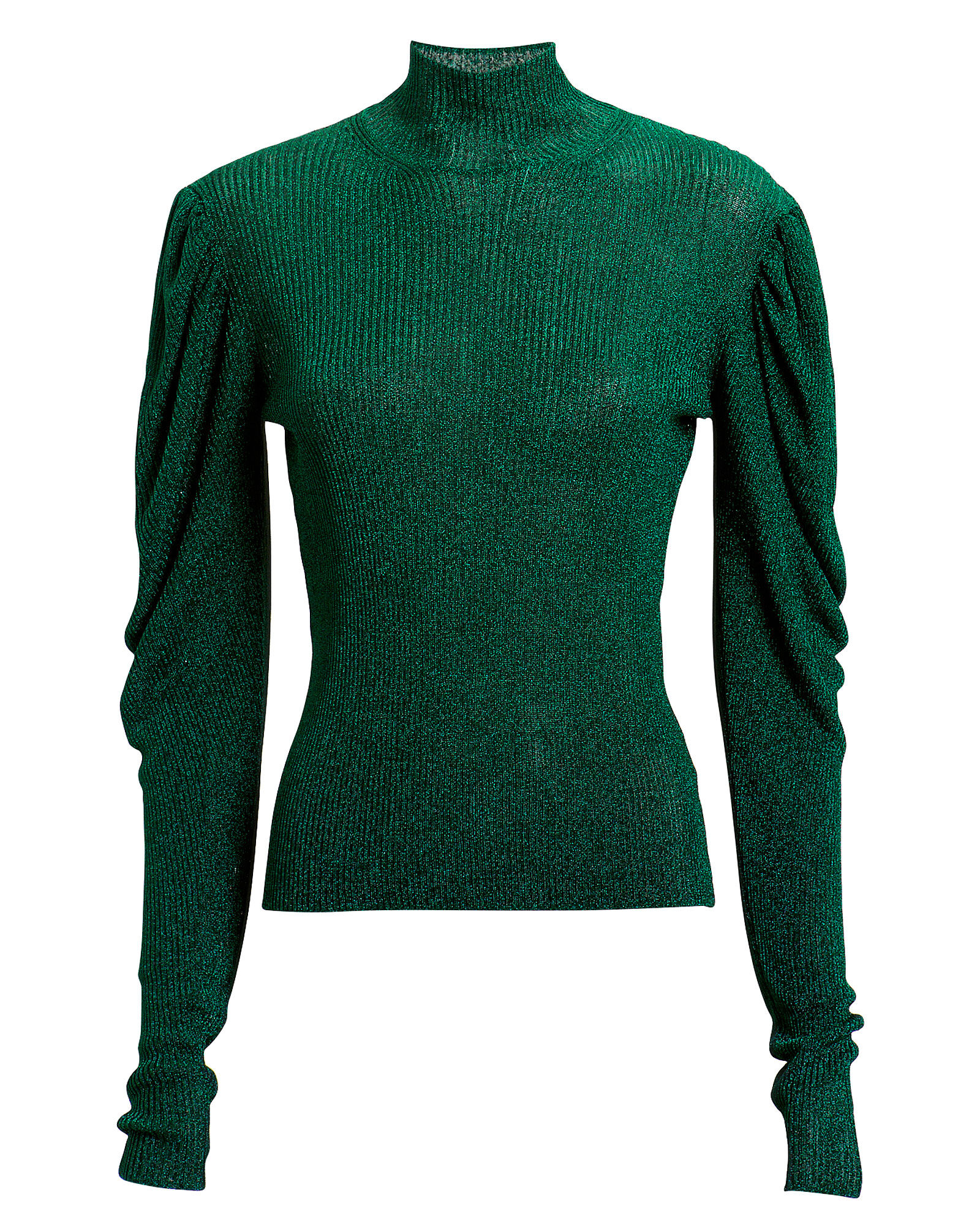 Puff Sleeve Turtleneck Sweater, TURQUOISE, hi-res