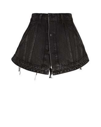 Cutaway Denim Skort, GREY DENIM, hi-res