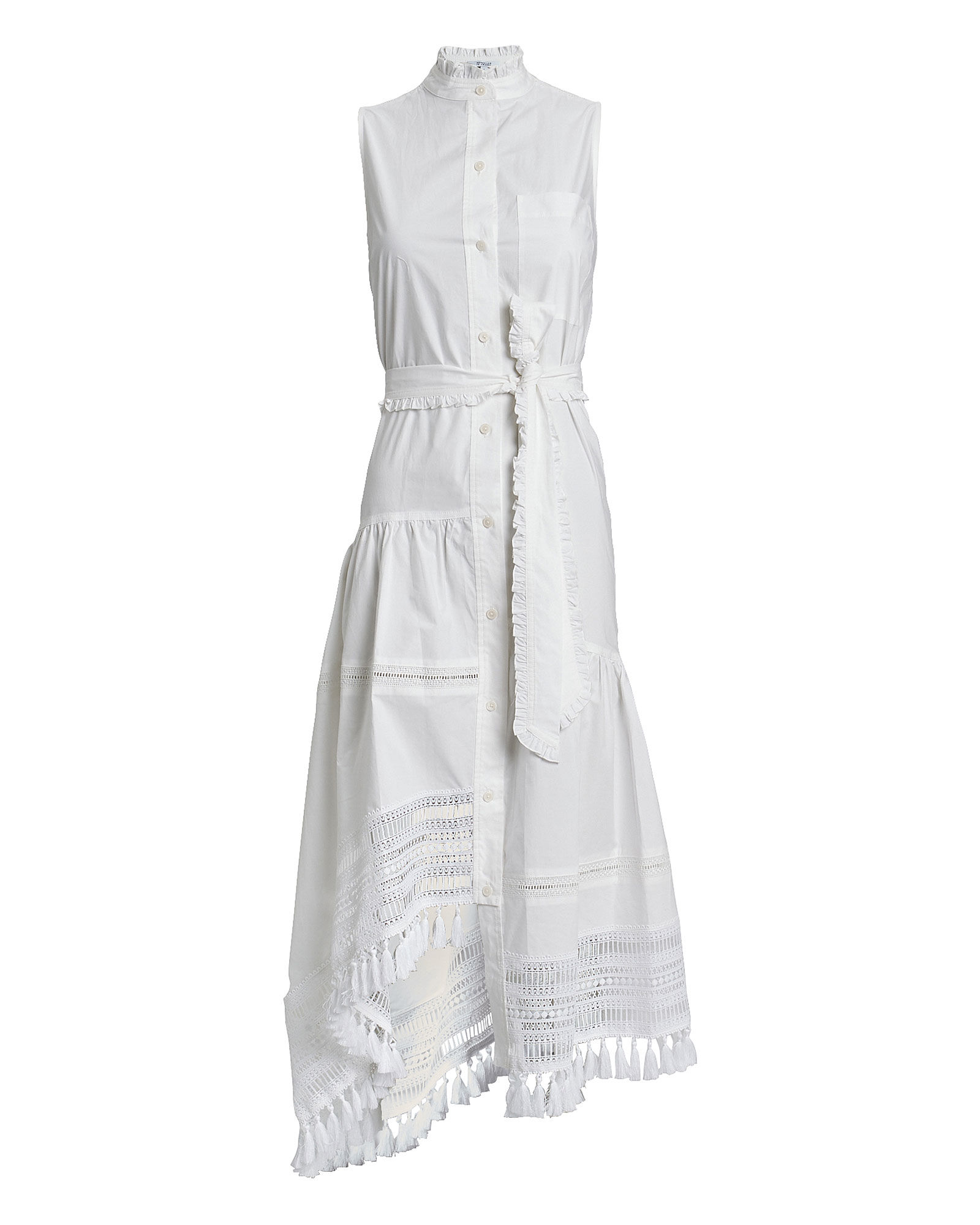 Nerioa Cotton Poplin Midi Dress, WHITE, hi-res