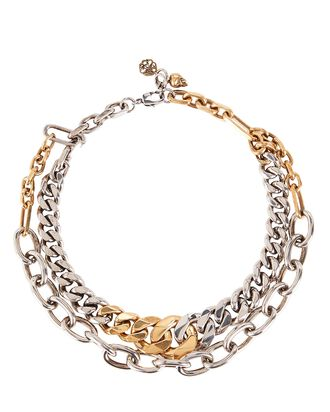 Double Chain Choker, SILVER/GOLD, hi-res
