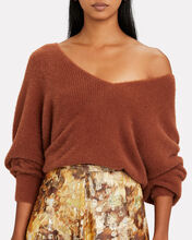 Oversized V-Neck Fuzzy Sweater, BROWN, hi-res