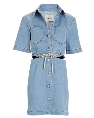 Cut-Out Denim Mini Shirt Dress, LIGHT WASH DENIM, hi-res