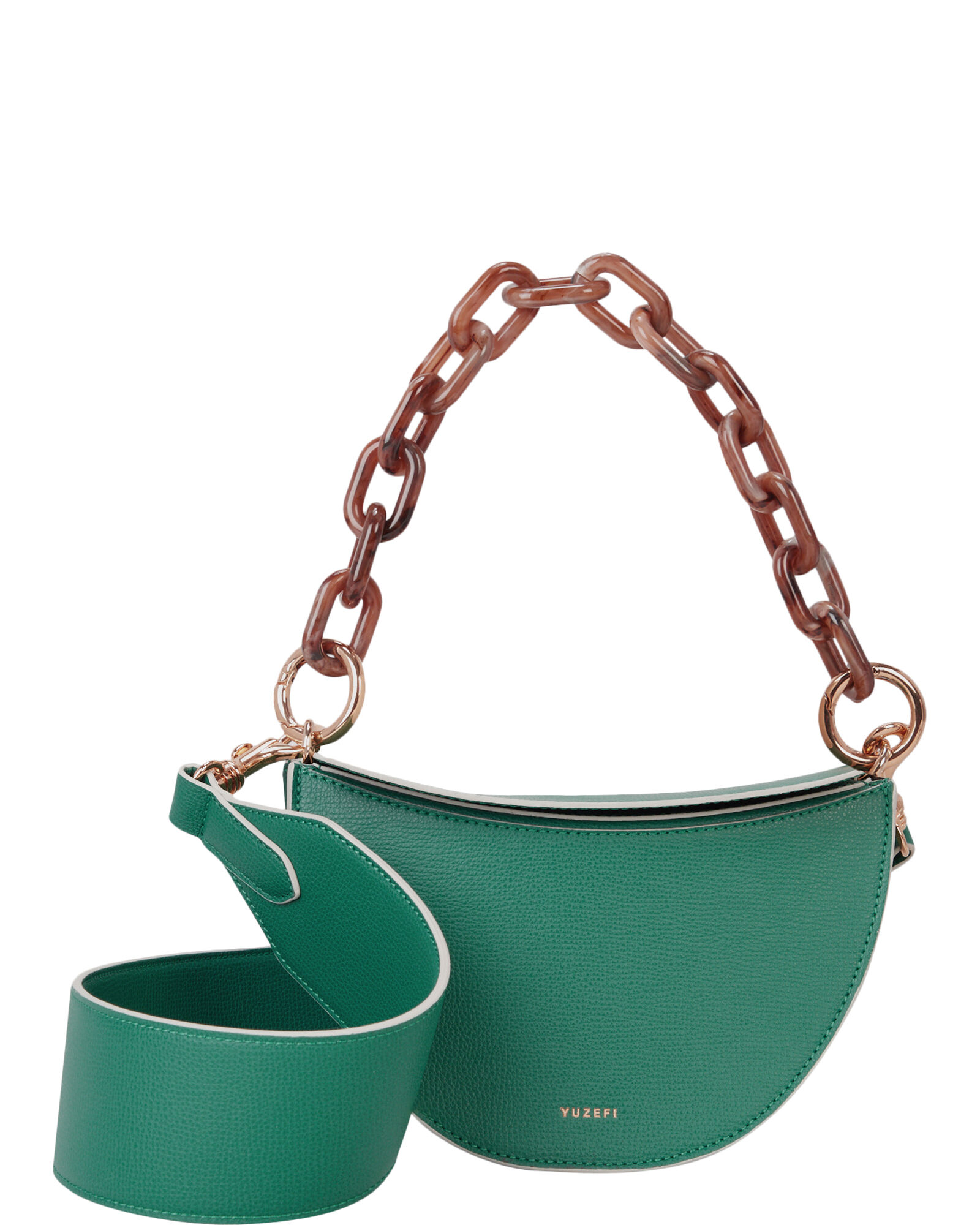 Doris Half Moon Leather Bag, GREEN, hi-res
