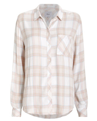 Hunter Plaid Button Front Shirt, BLUSH, hi-res