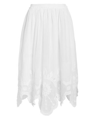 Skyla Embroidered Cotton Skirt, WHITE, hi-res